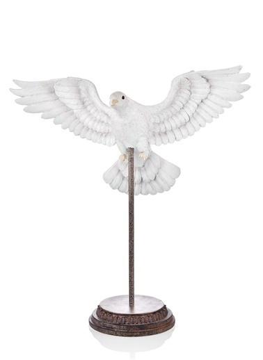 The Mia Biblo Güvercin Standlı - 37 Cm Eskitme Beyaz Beyaz